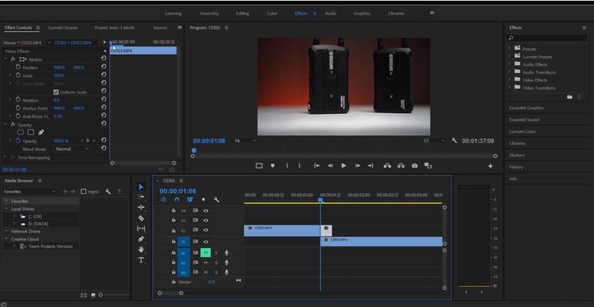 Workspace dan Timeline Adobe Premiere Pro